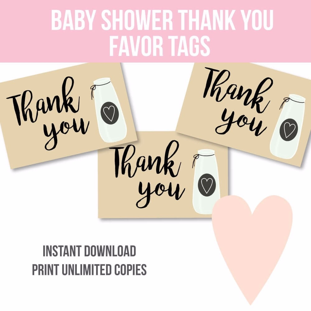 It is an image of Baby Shower Thank You Tags Printable regarding diy