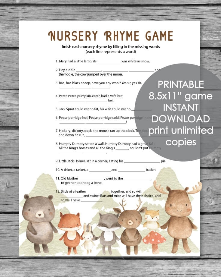 It is a graphic of Rhyming Game Printable in activity