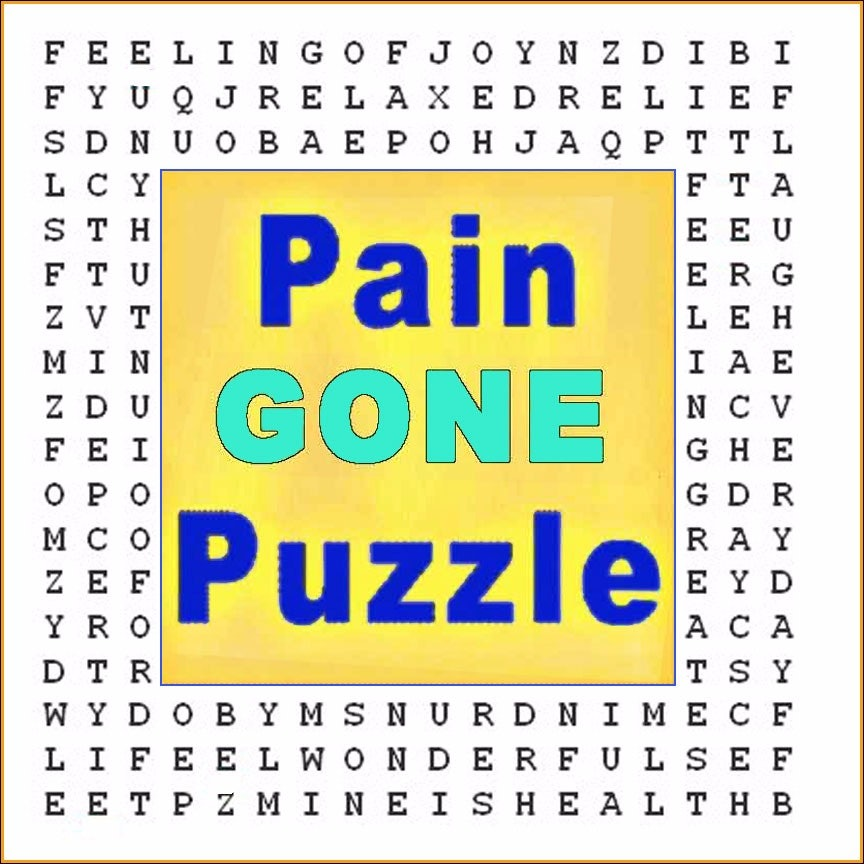 """Pain  Be Gone"" Hypnotic Word Search Puzzle"