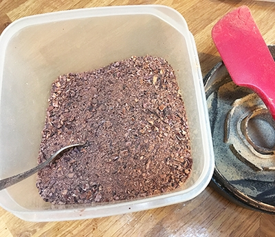Organic raw cacao after blending